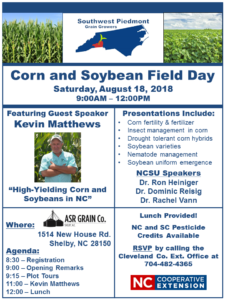 Cover photo for 2018 Southwest Piedmont Corn and Soybean Field Day