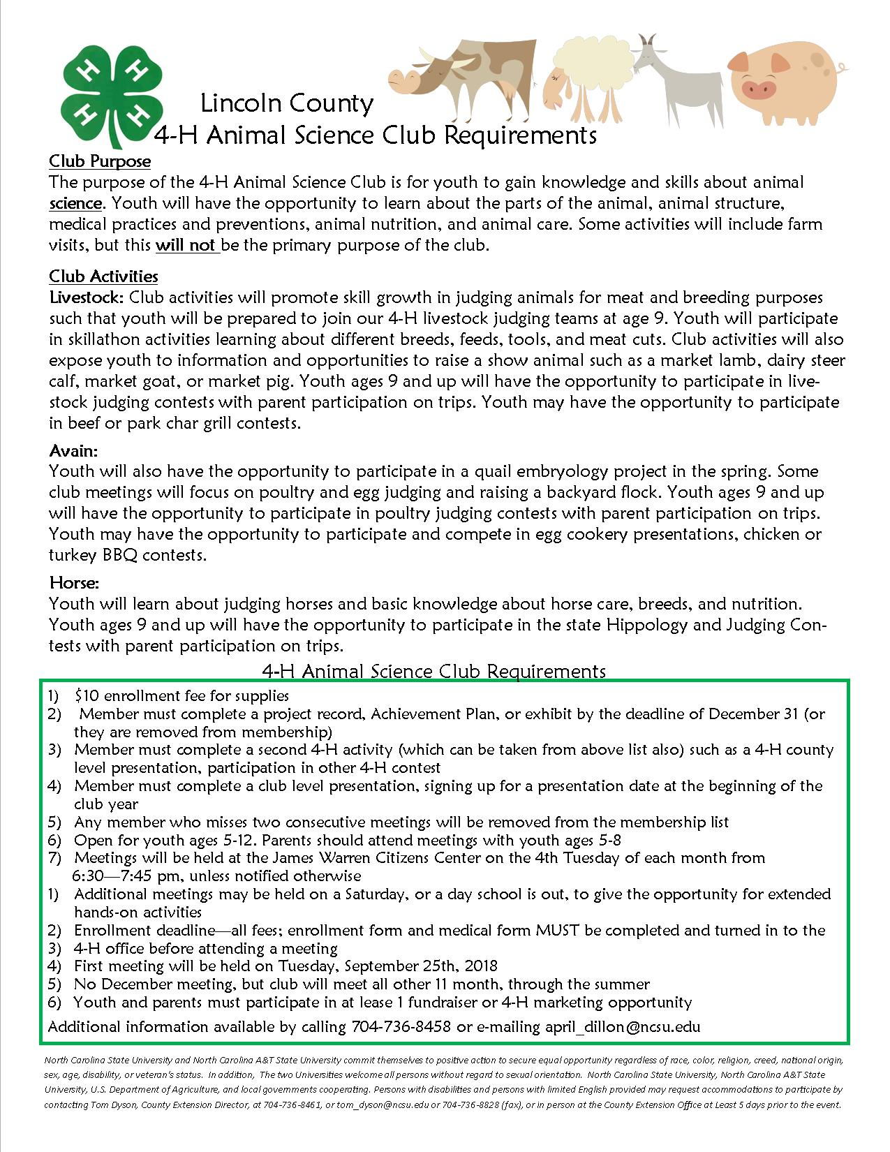 4-H Animal Science Club flyer image