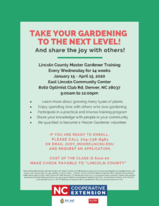 Master Gardener class starting january 15