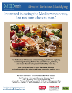 Eat the Mediterranean way, class series Jan 21 - Feb 25 and Jan 23 - Feb 27
