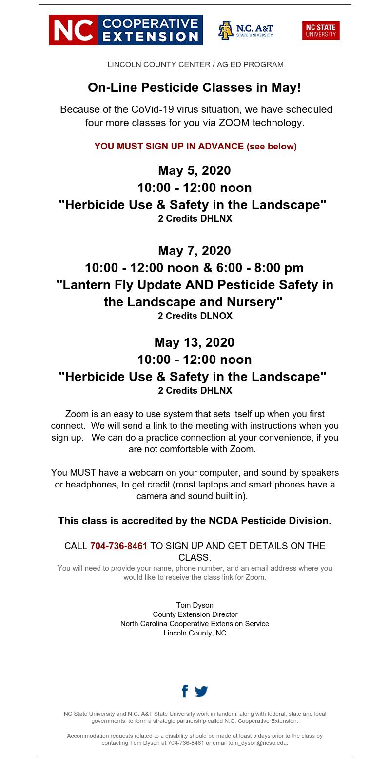 online pesticide classes flyer